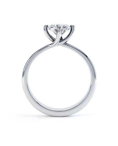Platinum Four-Claw Twist Solitaire Setting