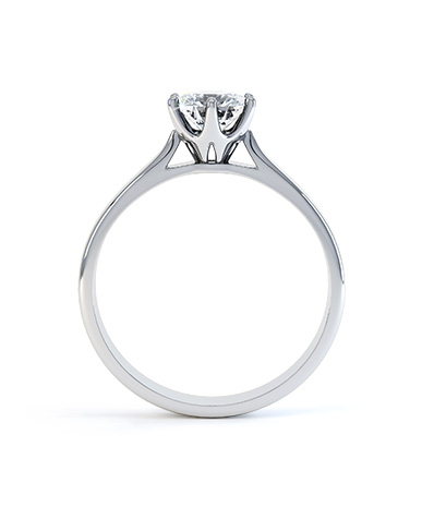Platinum Round Six-Claw Tiffany Style Solitaire Setting