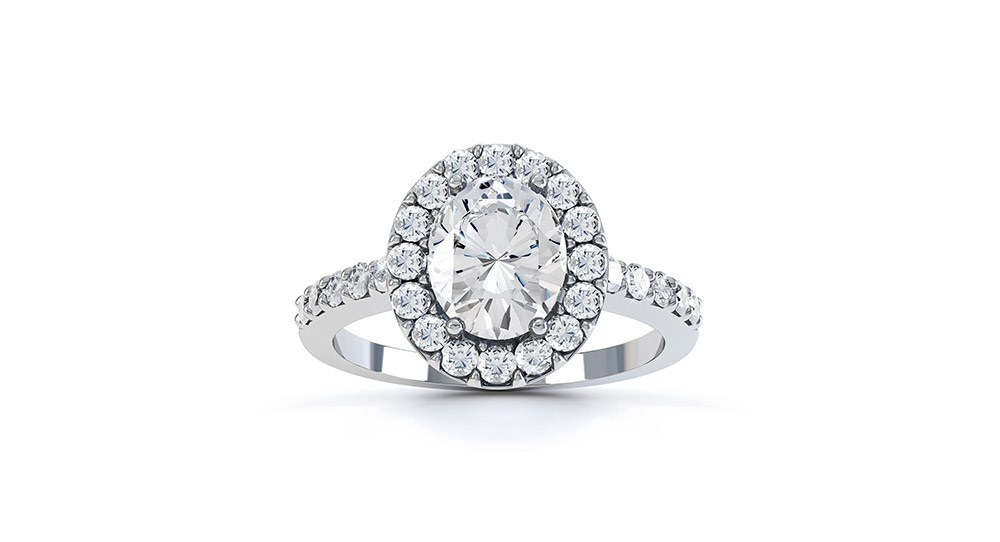 A Single Halo Diamond Engagement Ring