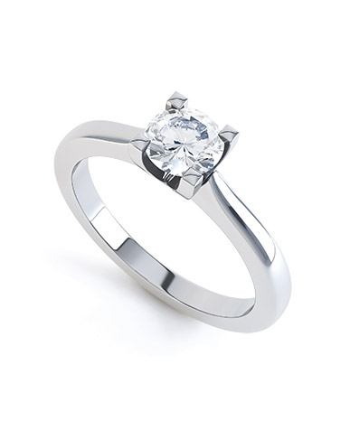 Flor diamond engagement ring in white gold