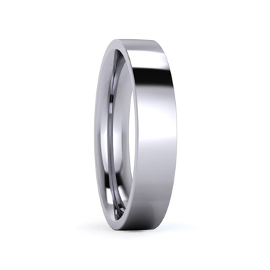 Flat Court Flat Edge Medium Weight 4mm Plain Wedding Ring