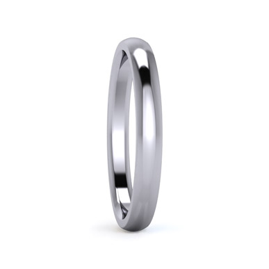 Traditional D shape 2.5mm Medium Weight Plain Wedding Ring