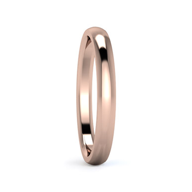 Traditional D Shape 2.5mm Medium Weight Wedding Ring in Rose Gold