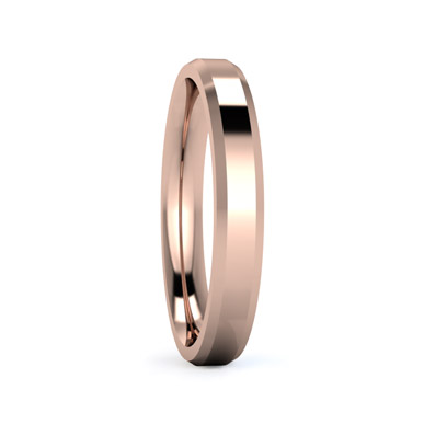 Chamfered Edge 3mm Medium Weight Wedding Ring in Rose Gold