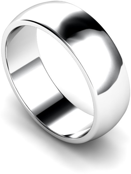 7mm Traditional D Shape Medium Weight Wedding Ring