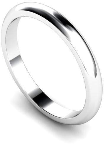 2.5mm Traditional D Shape Medium Weight Wedding Ring