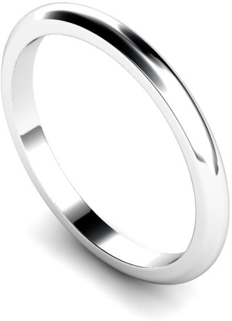 2mm Traditional D Shape Medium Weight Wedding Ring