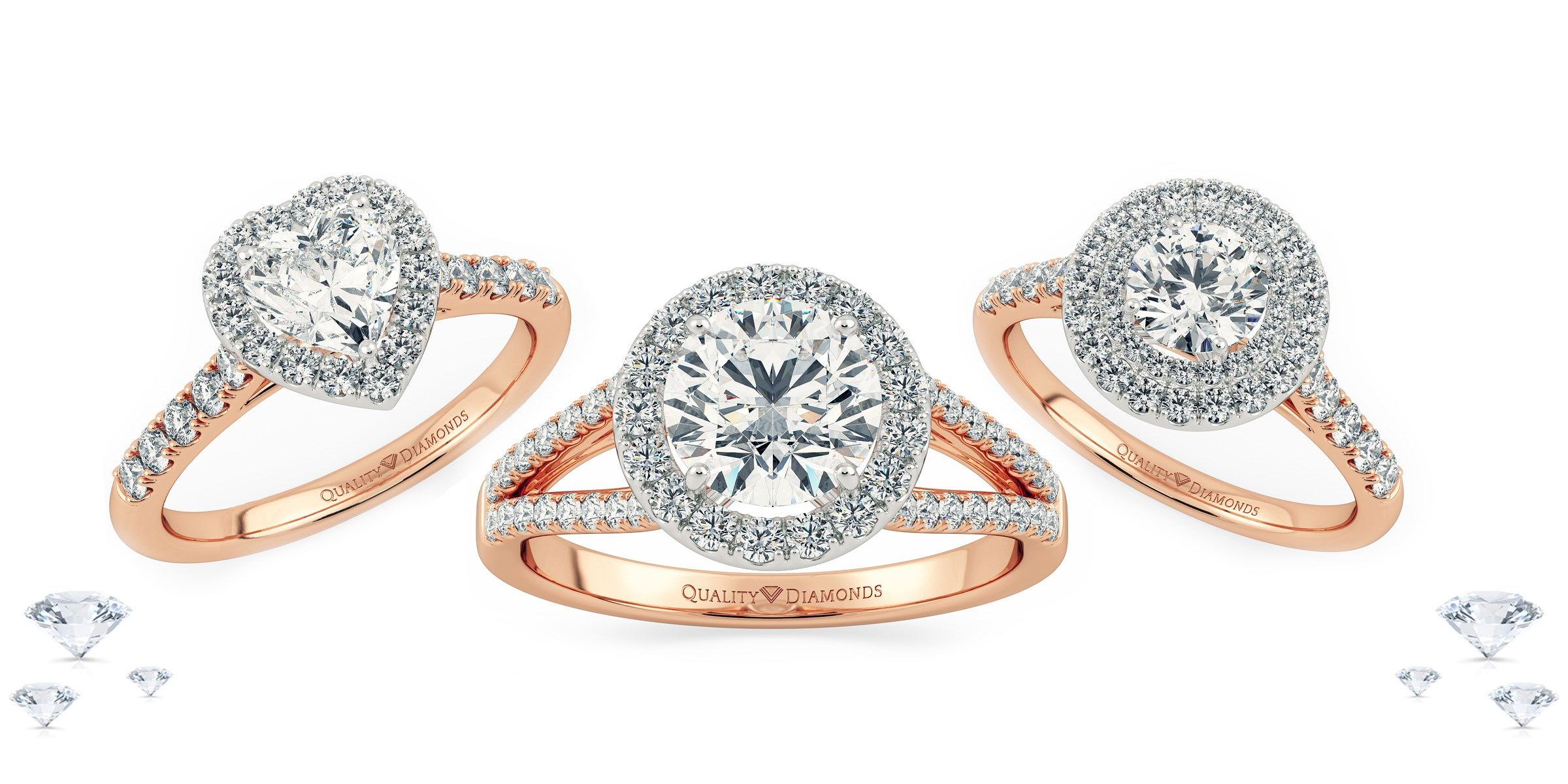 Rose Gold Halo Rings