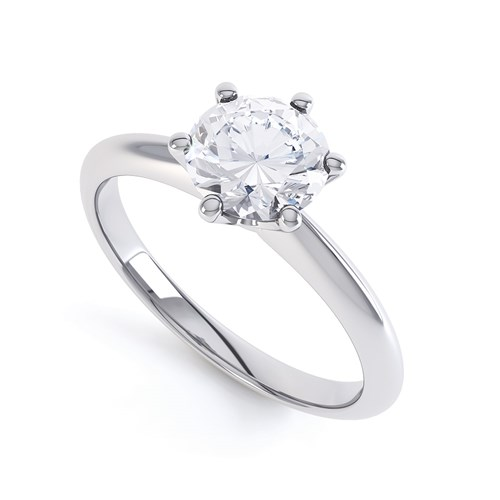 A Round Classic Six Claw Solitaire Diamond Engagement Ring