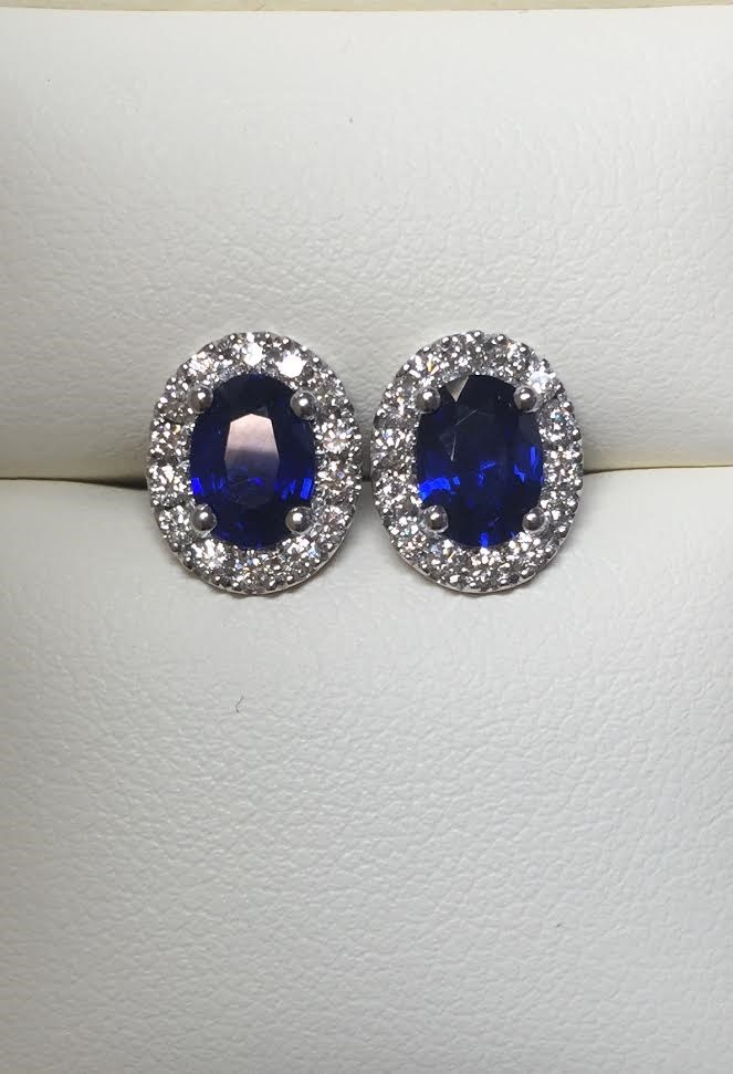Blue Diamond Halo Stud Earrings