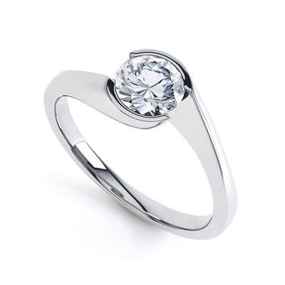 Contemporary tension set solitaire ring