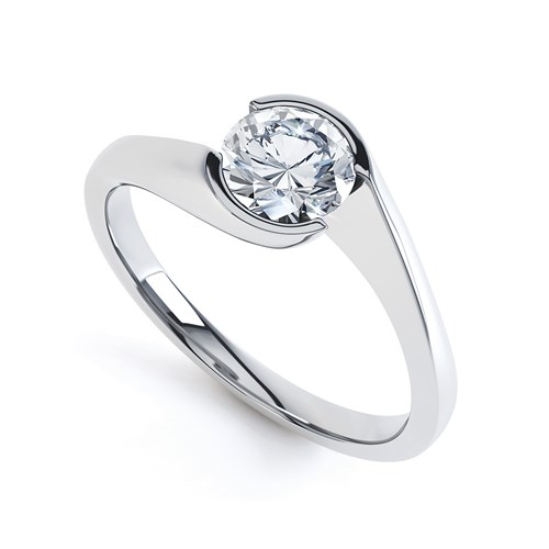 Round Twist Tension Solitaire Engagement Ring