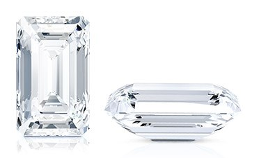 Loose emerald cut diamond top and side view